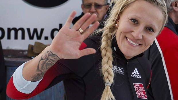 Canadian bobsledder Kaillie Humphries debuted as four-man bobsled pilot in a Calgary World Cup race in 2014 (CP Video)