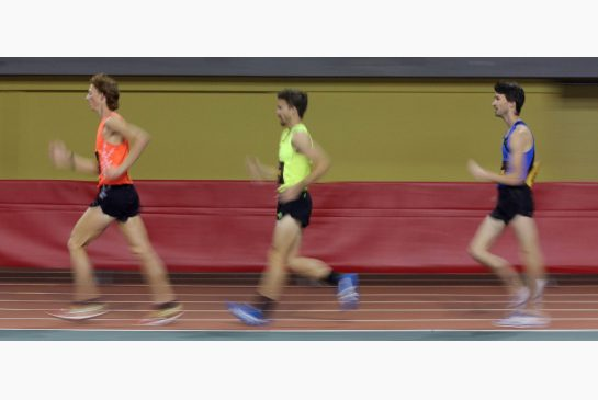 STEVE RUSSELL / TORONTO STAR  Canadian race walker Evan Dunfee strides to victory ahead of compatriot Inaki Gomez at the Canadian Indoor track and field championships in Montreal in February. Dunfee, Gomez and Ben Thorne are in the hunt for two spots at this summer's Pan Am Games.