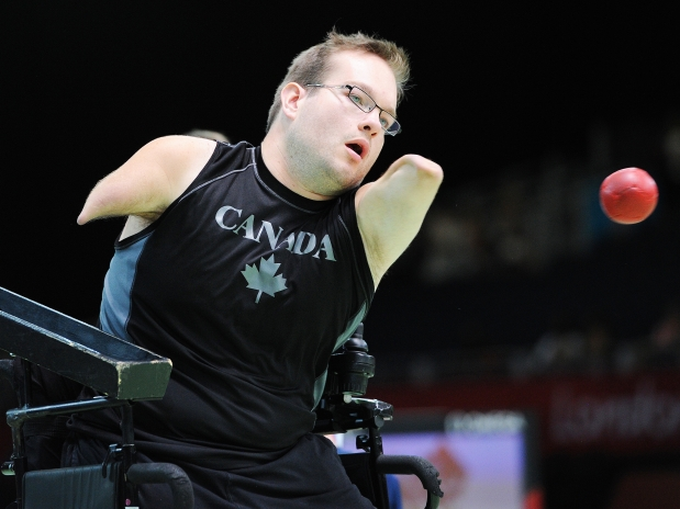 Team Canada's Josh Vander Vies throws the ball during the bronze medal match against Great Britain. Canada won by a score of 8-2 to capture the bronze medal in the Boccia Mixed Pairs-BC4 at the London 2012 Paralympic Games on September 3, 2012. Photograph by:Larry Wong , Larry Wong/Edmonton Journal/Post