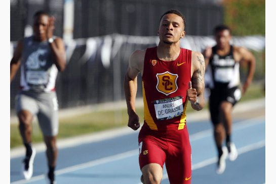 ALEX GALLARDO / THE CANADIAN PRESS Markham native Andre De Grasse is the first Canadian in 15 years to finish a 100-metre race in less than 10 seconds. He clocked 9.97 seconds to win the Pac-12 conference title for the University of Southern California.