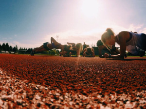 Core routine with the girls on a beautiful afternoon