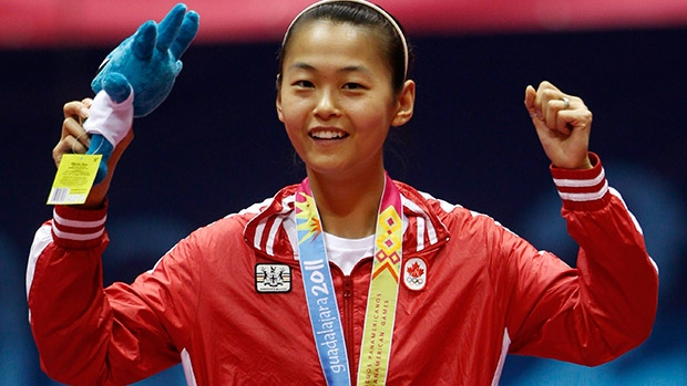 Canada's table tennis star Mo Zhang is the defending women's Pan Am Games singles champion. ((Eduardo Verdugo/Associated Press))