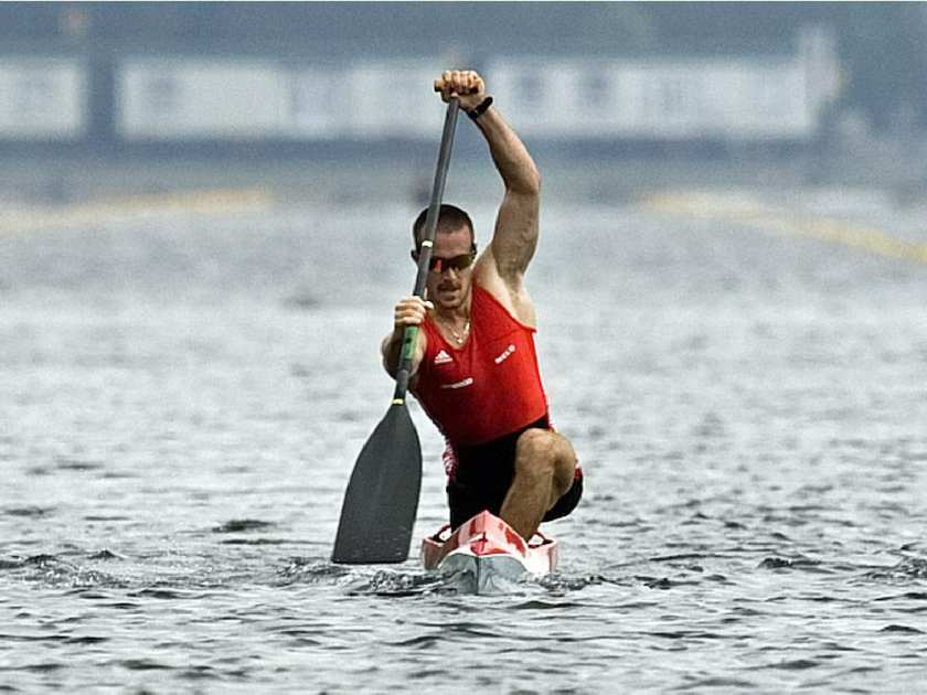 Canadian Olympic canoeist Tom Hall training at the Olympic Basin in Montreal in 2008. Hall won an Olympic bronze medal in Beijing in the C1 1000 metre event.