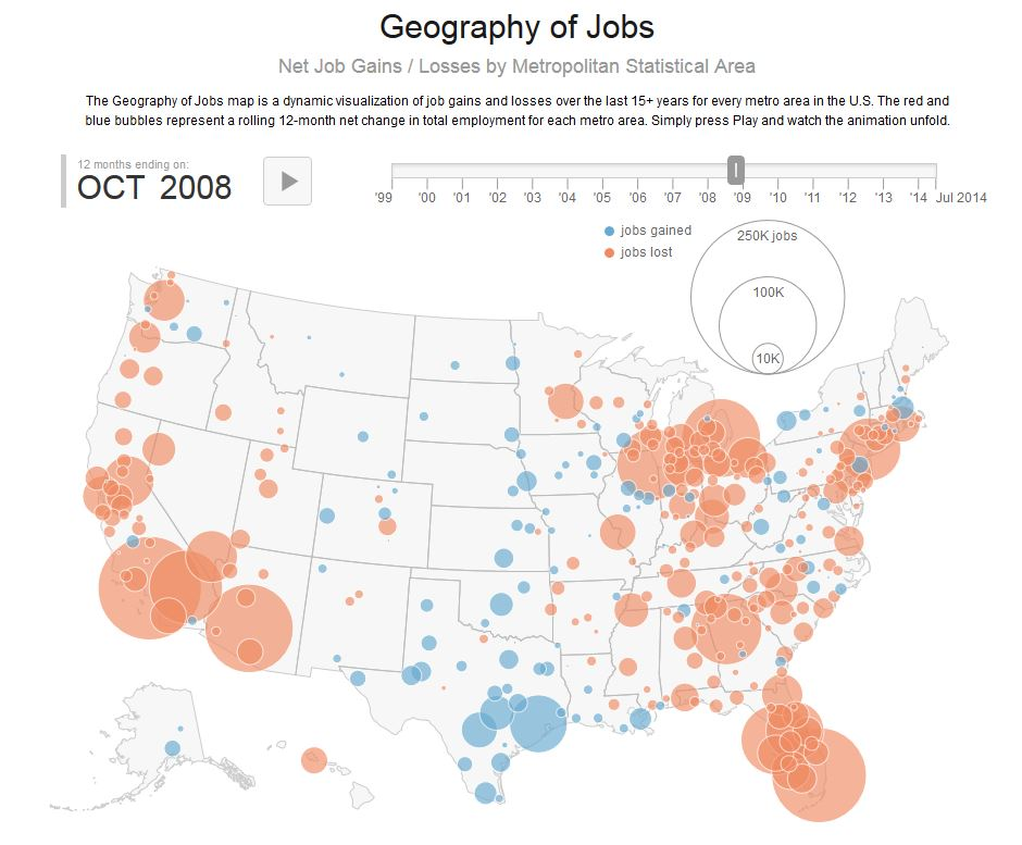 This Map Depicts The Staggering Highs And Lows Of The US Economy - Us map job growth