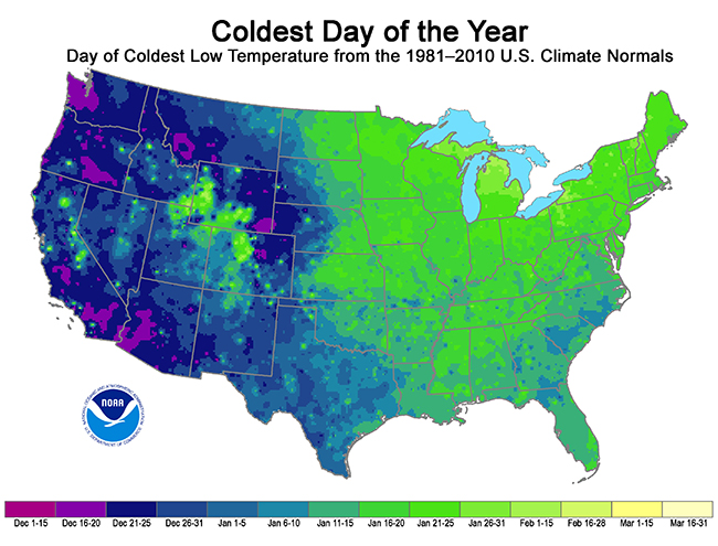 Whens The Coldest Time Of The Year New NOAA Map Shows The - Average temp map us