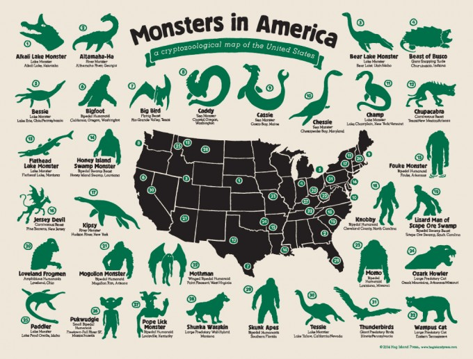 Monsters In America A Cryptozoological Map Of The Usa Bgc