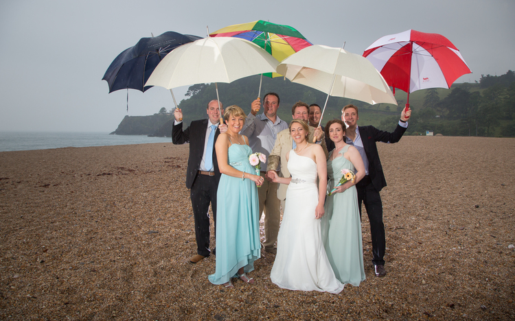 dartmouth beach wedding formal shot umbrellas 1