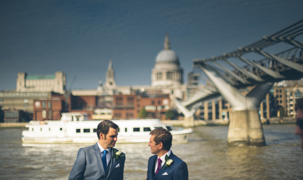Groom and Best Man By River Thames