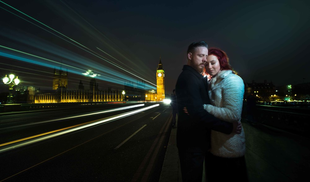 Couple Cuddling on Tower Bridge