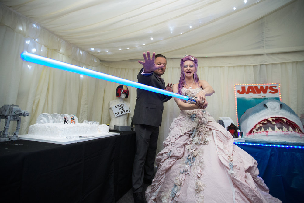 Hollwyood-characters-bride-essex-movie-theme-wedding-cake-light-sabre-1