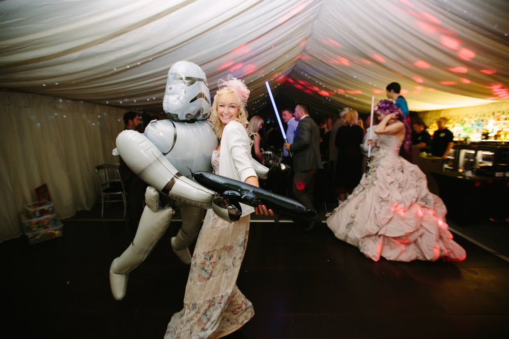Hollwyood-characters-bride-essex-movie-theme-wedding-first-dance-stormtrooper