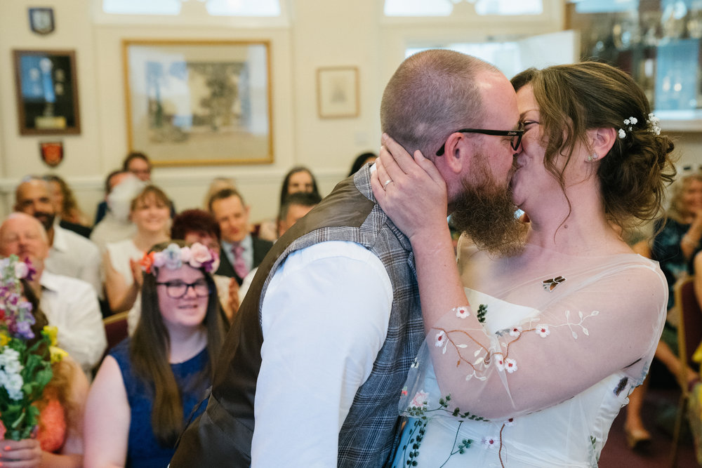 kettering-summer-marquee-country-wedding-photography-videography-first-kiss-10
