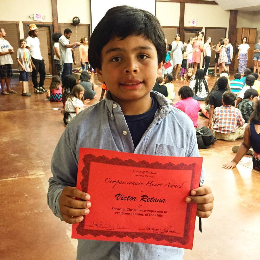 Victor was recognized with the Compassionate Heart Award at Camp, given to campers who demonstrate Christ-like compassion to other campers and counselors.