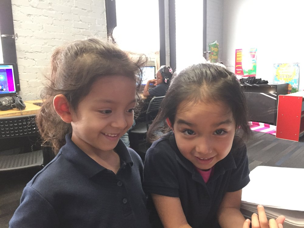 Aylin and Blanca make memories in the reading lab