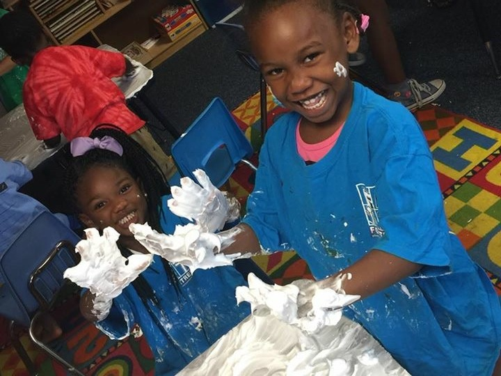 Learning should be fun and messy! Our preschoolers love to practice writing their letters in shaving cream.