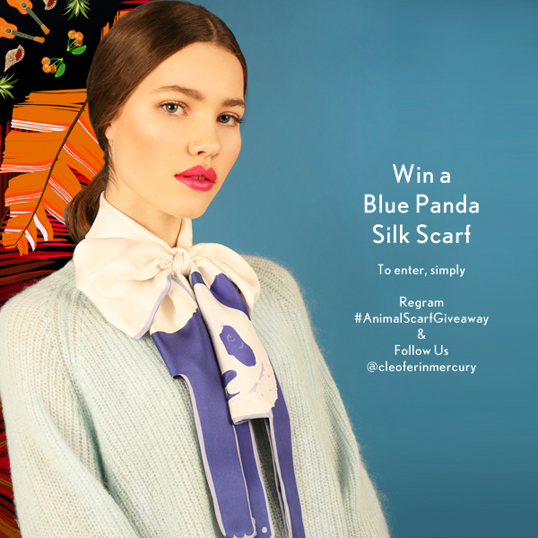 Win a Small Blue Panda Silk Scarf