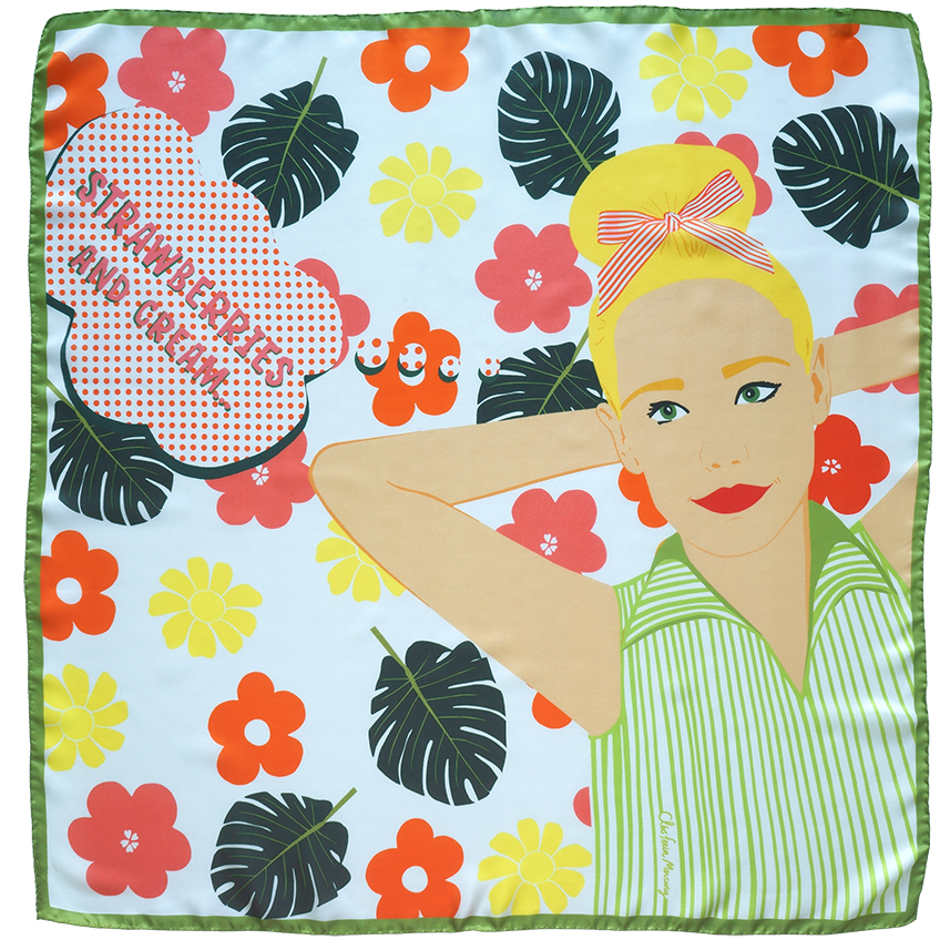 Girl on Flower Bed - light medium square silk scarf.jpg