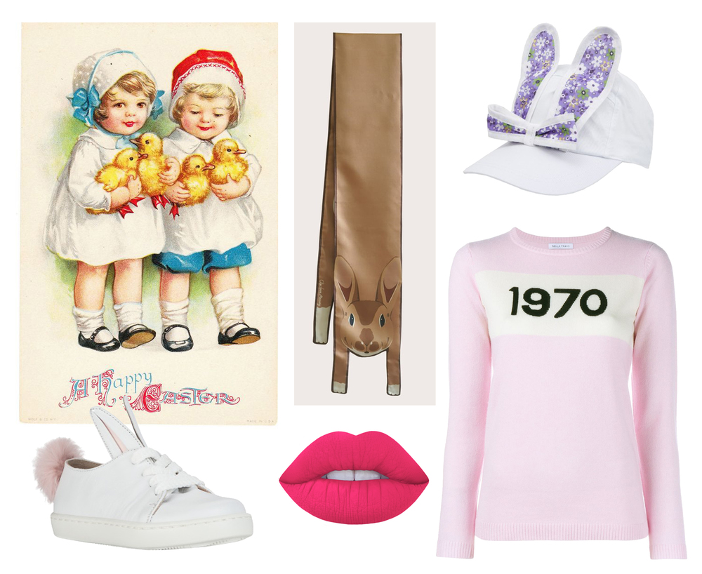 Shop the look: Brown Rabbit Silk Scarf, Bunny Cap by Bernstock SPeirs, 1970 Jumper by Bella Freud, Suedeberry lipstick by Limecrime, and Trainers by Minna Parikka.