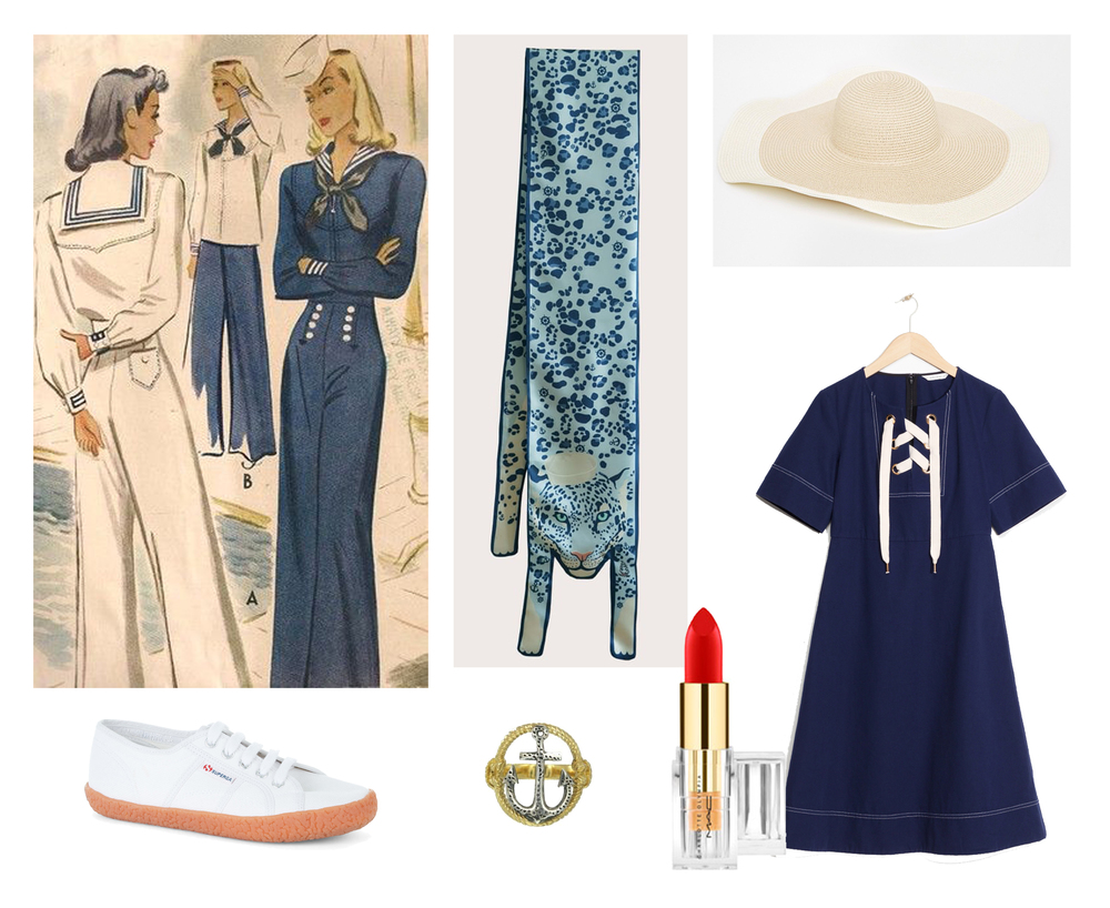 Shop the look here:  Sailor Jaguar Scarf ,  Straw Hat  by Asos,  Sailor Dress  by Other Stories,  Red Lipstick  by Charlotte Olympia x Mac,  Anchor Ring  by Zoe&Morgan,  Trainers  by Superga.
