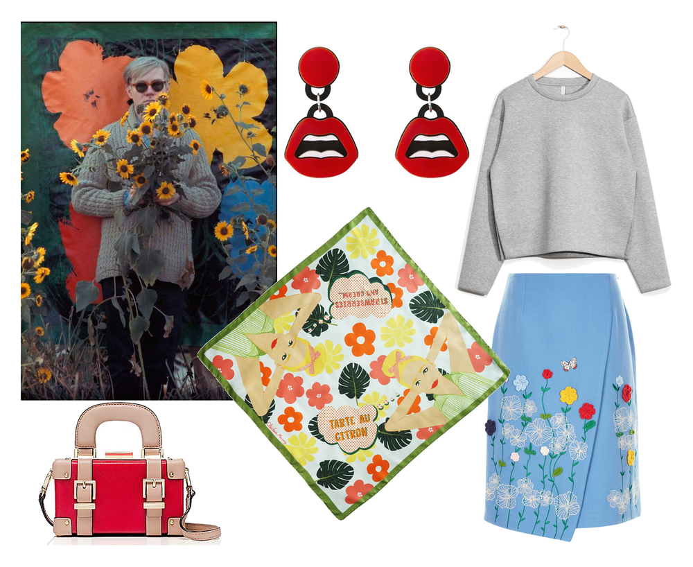 Shop this look here:  Lips Earings  by Yazbukey,  Grey Sweatshirt  by Other Stories,  Blue Skirt  by Vivetta,  Daydreaming Girls  Scarf,  Red Trunk  Handbag by Kate Spade.