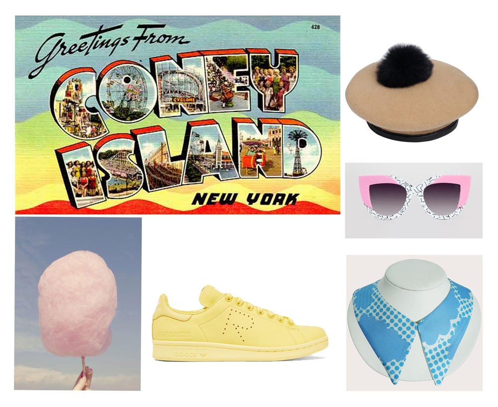 Shop the look here: Beret by Eugenia Kim, Sunglasses by Lazy Oaf X Poppy Lissiman, Blue Clouds Detachable Silk Collar, Trainers by Raf Simons for Adidas..