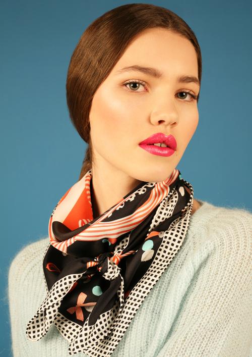 Bandana Knot - Cleo ferin Mercury - designer silk scarf