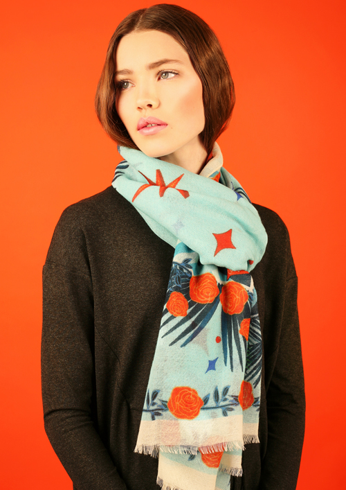 how to wear a wool scarf - Cleo Ferin Mercury - designer wool scarf