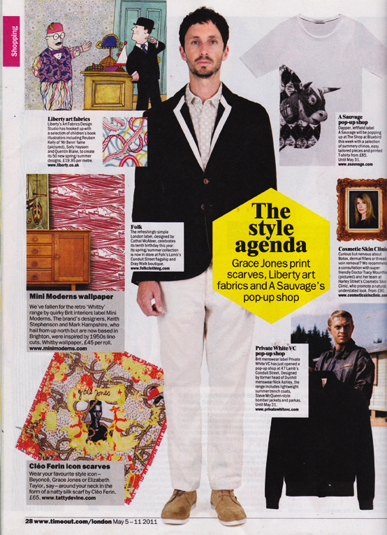 Time Out Magazine Vintage Designer Silk Scarf