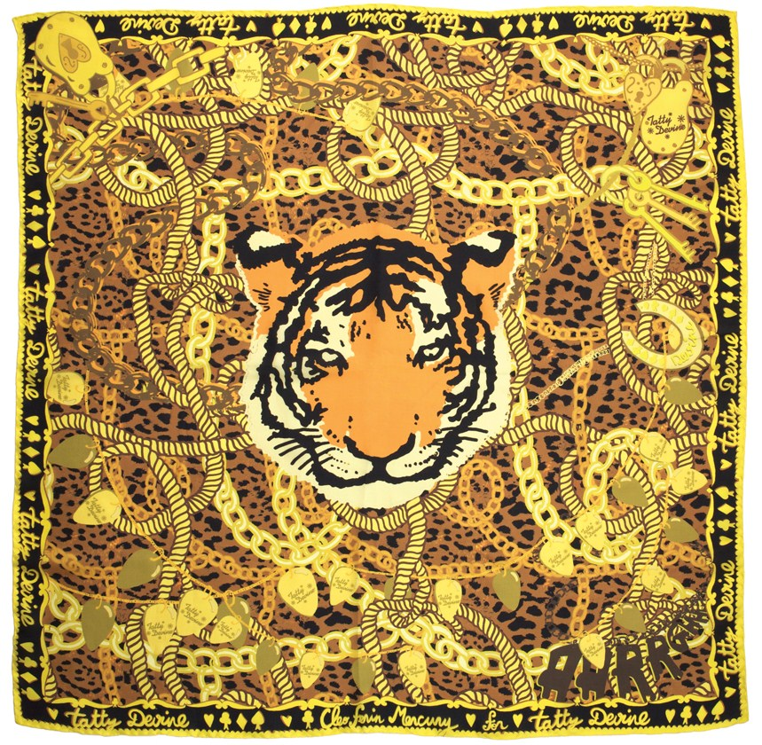 Cleo Ferin Mercury Designer Silk Tiger Scarf for Tatty Devine