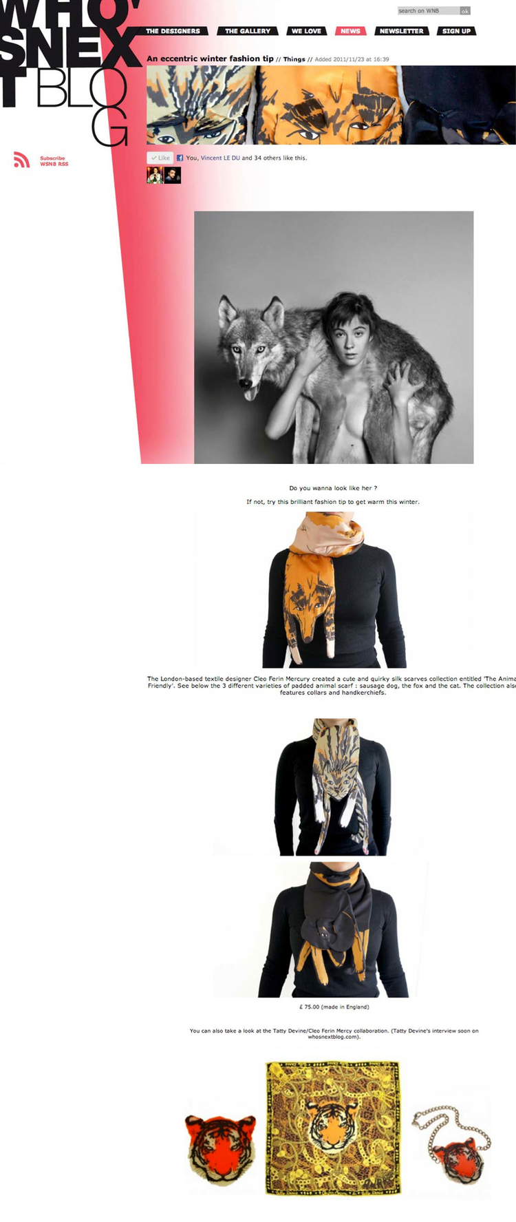 Who's Next Blog - Cleo Ferin Mercury Designer Silk Scarves - Animal Scarves