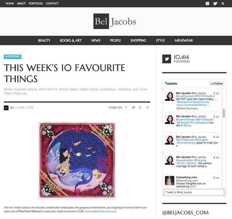 Bel Jacobs - This Week's 10 Favourite Things