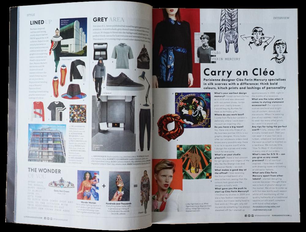 Designer Silk Scarves as seen in Tony & Guy Magazine