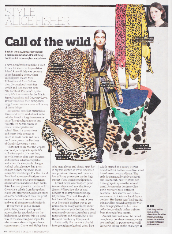 Designer Jaguar print scarves style - The Observer Magazine