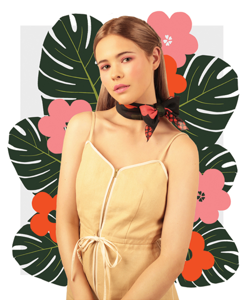 Flowers Black Small Scarf - designer flower print scarves - Cleo Ferin Mercury.jpg