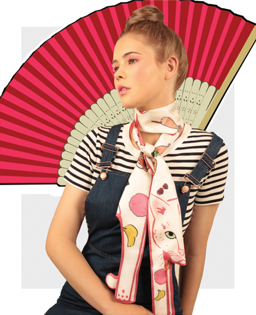 Small Cat Covered in Stickers - designer silk scarves - Cleo Ferin Mercury.jpg