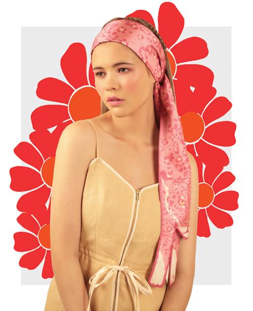 Small Jaguar in Pastel Pink - designer Jaguar print silk scarves - Cleo Ferin Mercury.jpg