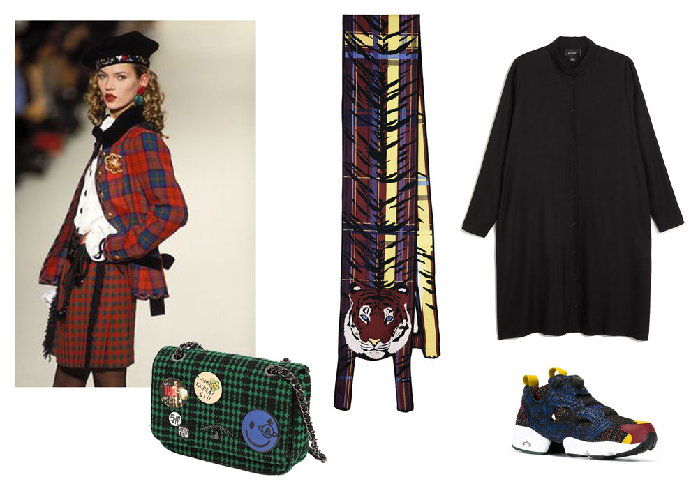 Small Tartan Print Tiger Long Scarf by Cléo Ferin Mercury ,  Dress by Monki ,  Trainers by Reebok ,  Bag by Vivienne Westwood .