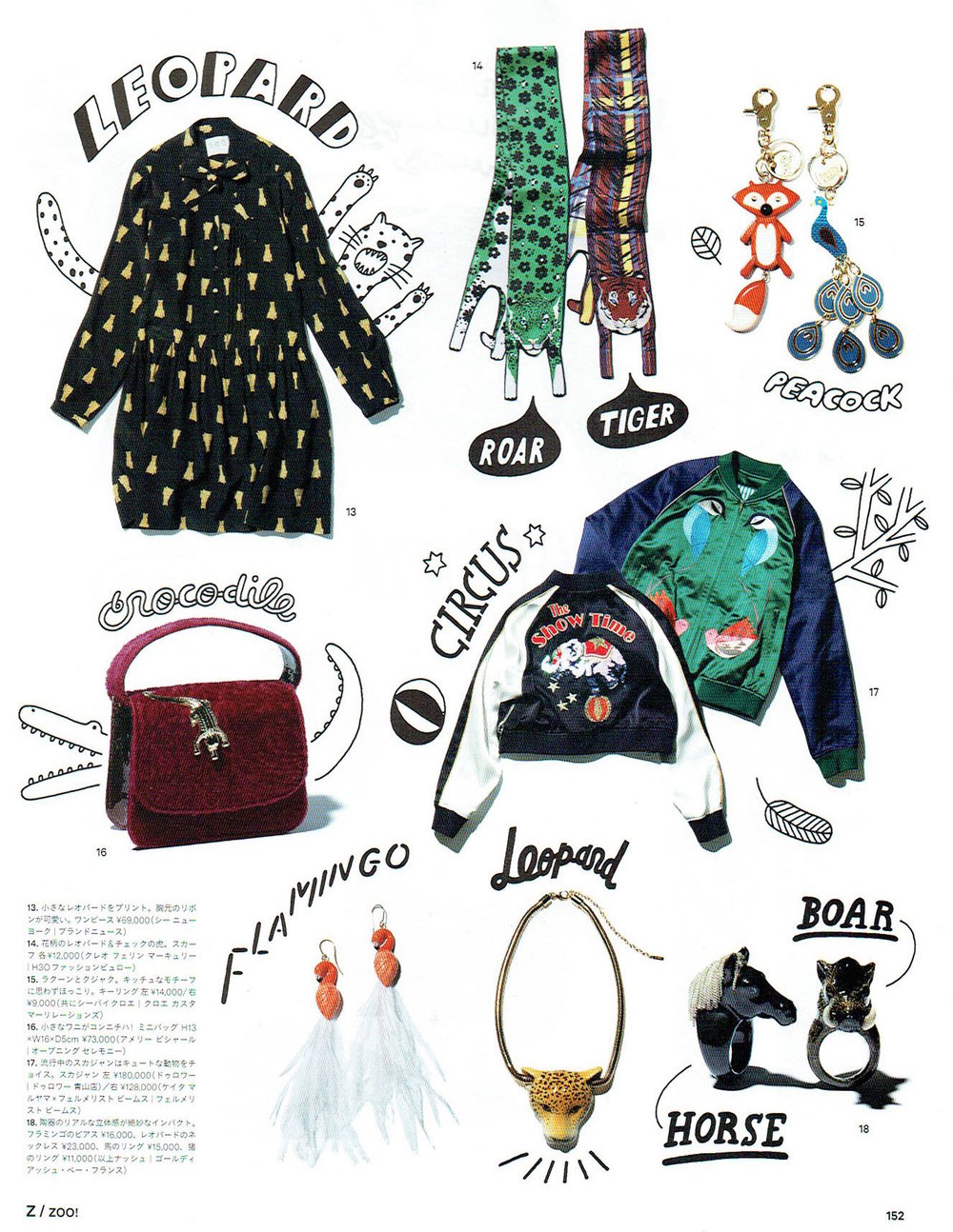Small Tartan Tiger and Flower Power Jaguar Silk Scarves as seen in Ginza Magazine