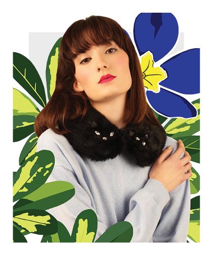Black Faux Fur Round Collar - Cleo Ferin Mercury AW16.jpg