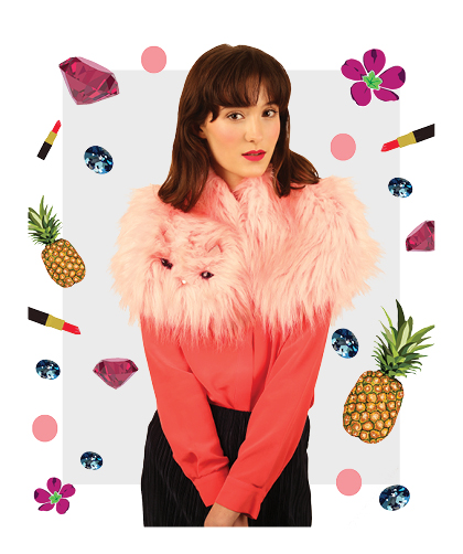 Fluffy Pink Faux Fur Medium Collar - Cleo Ferin Mercury AW16.jpg