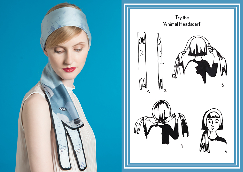 Animal Headscarf Blue Fox - how to style a silk scarf - Animal Long Silk Scarf.jpg