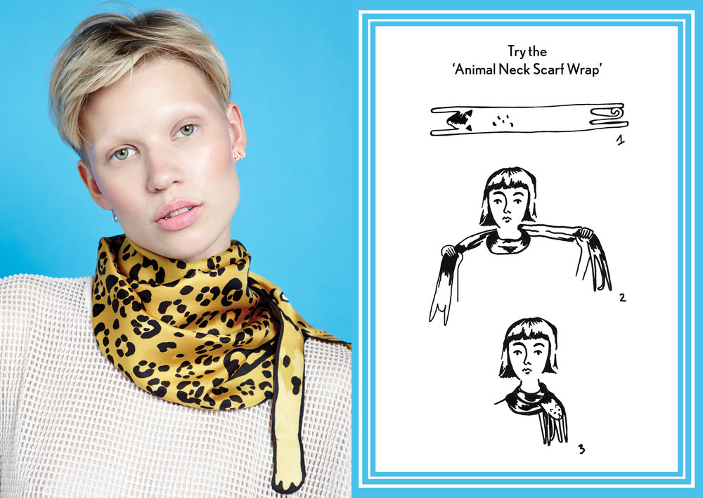 Animal Neck Scarf Wrap Gold Jaguar - how to style a silk scarf - Animal Long Silk Scarf.jpg