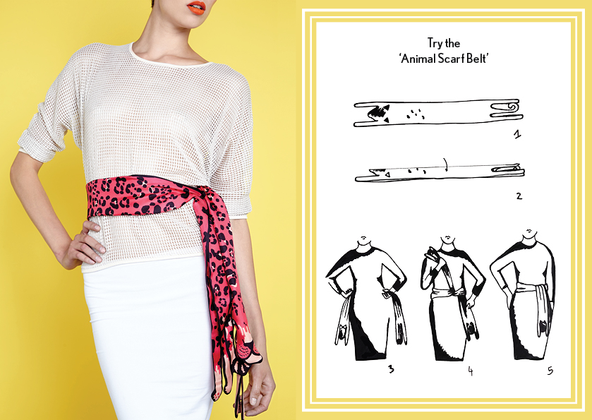 Animal Scarf Belt Pink Jaguar - how to wear a silk scarfy - Animal Long Silk Scarf.jpg