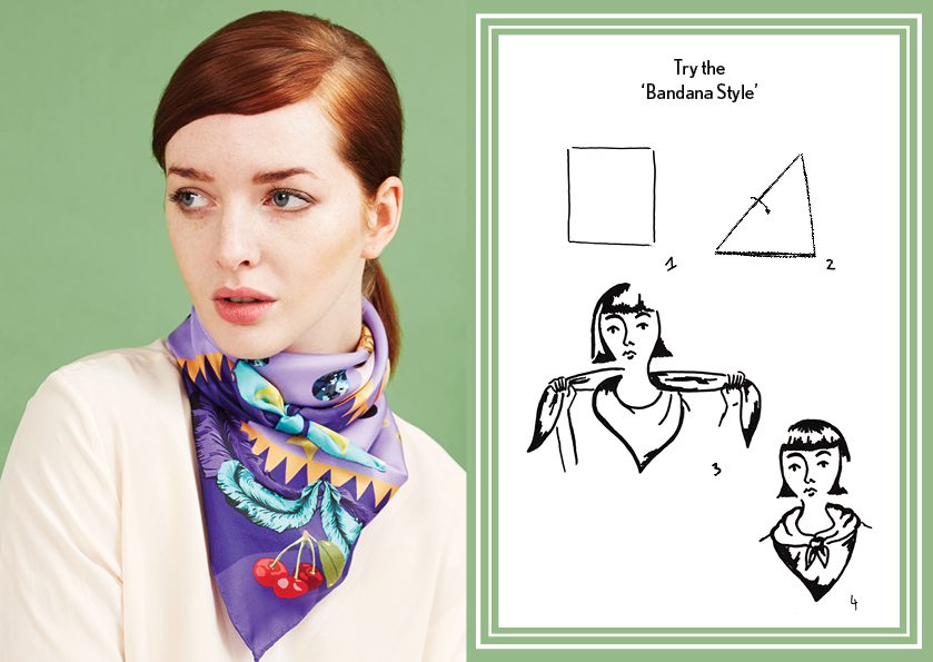 Bandana Style AW14 Circus Magician Scarf - how to wear a silk scarf - Square Silk Scarf.jpg