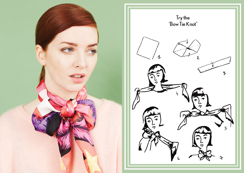 Bow Tie Knot AW14 Circus - how to wear a silk scarf - Square Silk Scarf.jpg