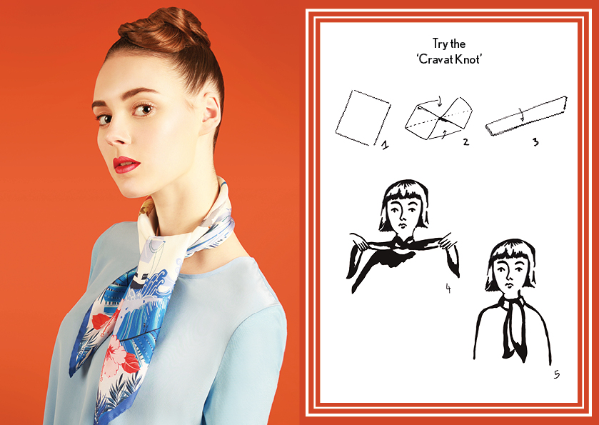 Carvat Knot SS15 Nautical - how to wear a silk scarf - Square Silk Scarf.jpg