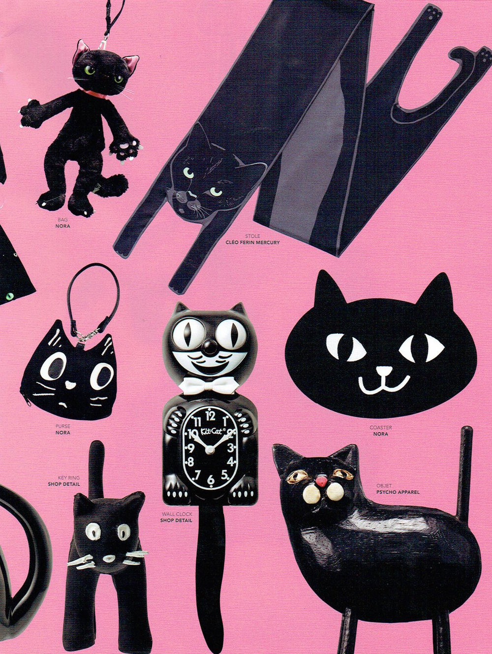 Small Black Cat Long Silk Scarf  as seen in Common & Sense Magazine