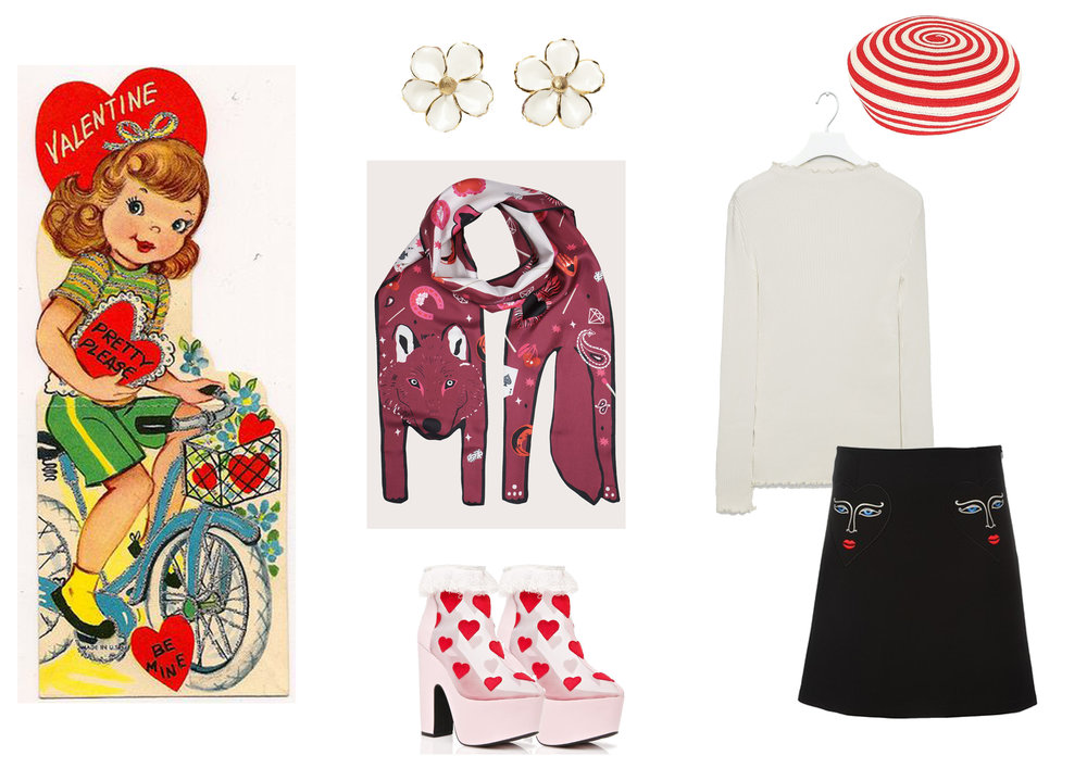 Clockwise:  Earrings by Andres Gallardo ,  Beret by Gucci ,  White Top by Cos ,  Embroidered Skirt by Vivetta ,  Platform shoes by Dolls Kill ,  Wolf Scarf by Cléo Ferin Mercury .