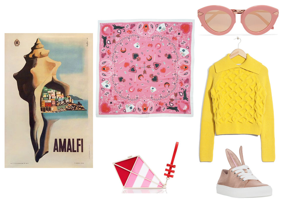 Shop the look:  Small Silk Scarf by Cléo Ferin Mercury ,  Pink Sunglasses by Prada ,  Yellow Jumper by &Other Stories ,  Bunny Trainers by Minna Parikka , and  Kite Handbag by Kate Spade .