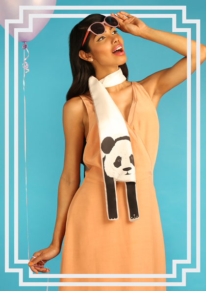Designer Panda Print Silk Scarf
